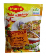 The soup from Mom liver dumplings and noodles Maggi