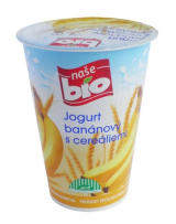 Our Bio banana yogurt with cereal