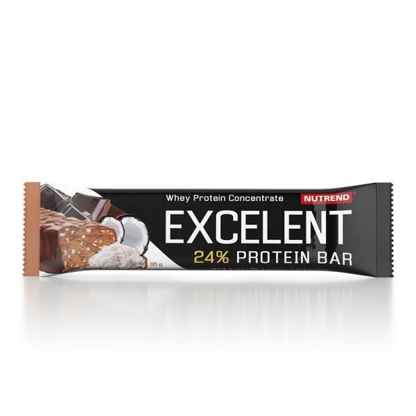 Excellent 24% protein chocolate bar with nuts, chocolate and coconut Nutrend