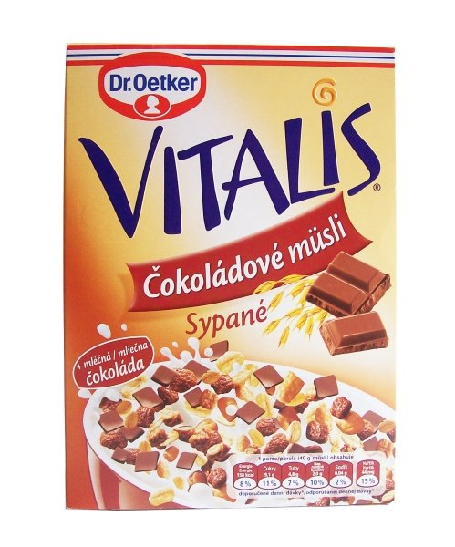 Vitalis muesli topped with chocolate Dr. Oetker